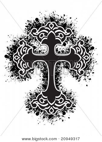 white background with isolated black grungy cross