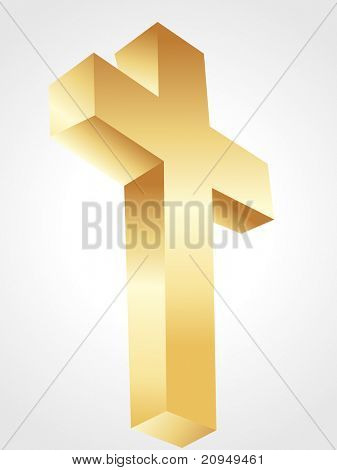 isolated golden cross with white background