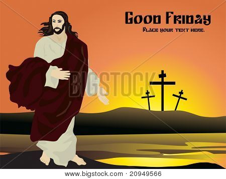 vector illustration of good friday card with sample text