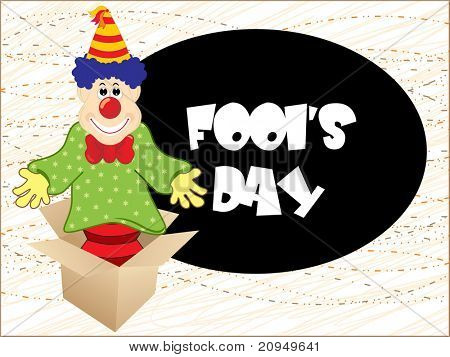 funky fools day background, quipster with cardboard illustration