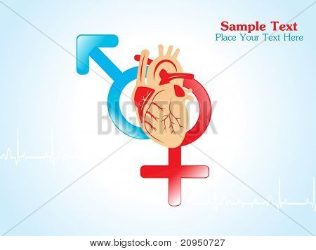 medical background with male, female symbol and human heart