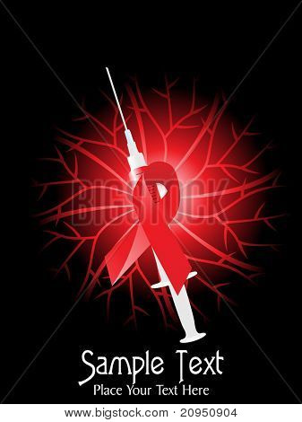 abstract background with hiv ribbon, injection