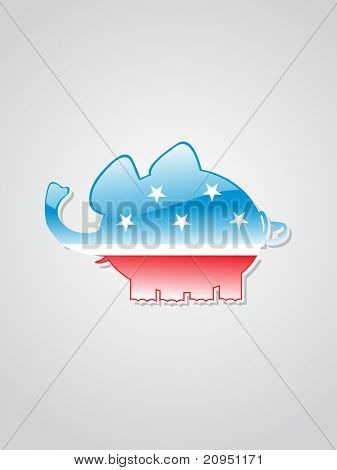 isolated elephant in us flag on grey background