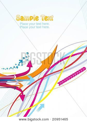 abstrato ondulado com ponta de seta colorida, ilustração vetorial