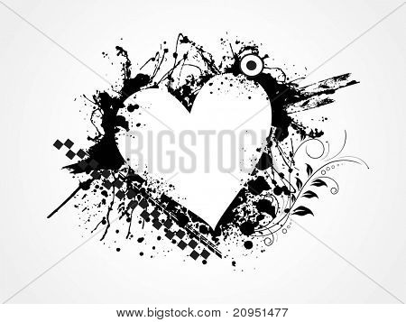 grungy heart for valentine day, vector illustration