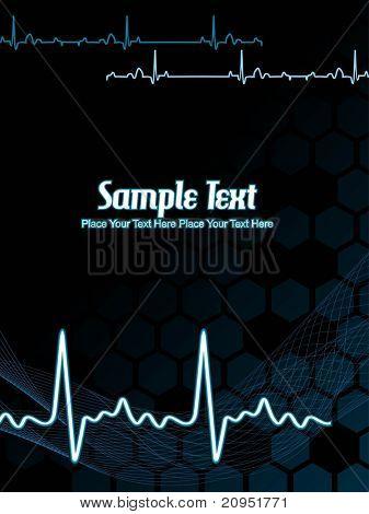 abstracto negro ondulado, fondo con texto de muestra del latido del corazón