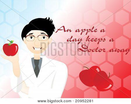 ein Apfel pro Tag einen Arzt fern hält background mit Arzt Betrieb Apfel