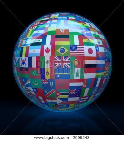 El globo de cristal con las banderas del mundo