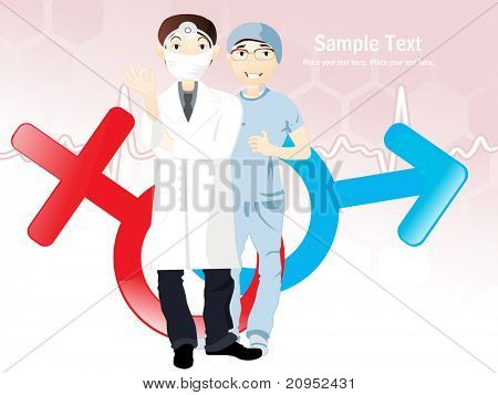 pink heart beat, male and female symbol background with doctors
