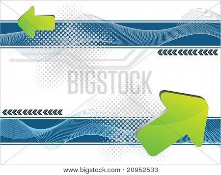 fundo abstrato onda pontilhada com uma seta verde