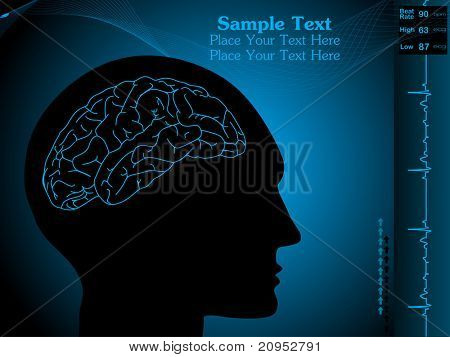 abstract wavy background with human face silhouette