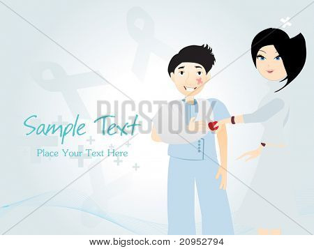 abstract blue wave, hiv ribbon background with nurse giving apple to patient
