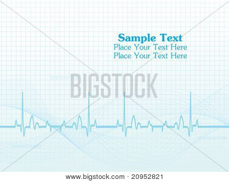 abstract blue wavy, heart beat background with sample text