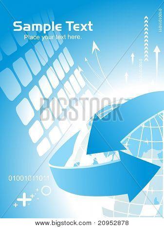 abstrato azul com globo, seta e amostra de texto