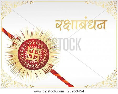 white background with creative border and isolated rakhi