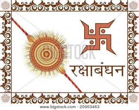 floral border on white background with rakhi, swastika