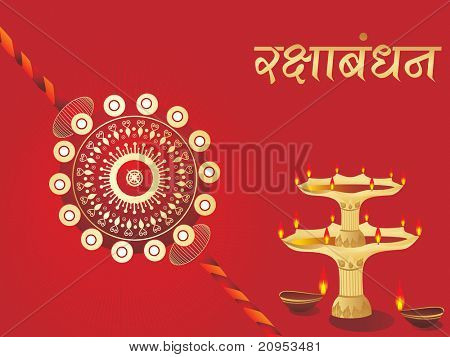 maroon rays background with isolated deepak, rakhi
