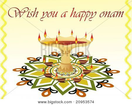 beautiful pattern greeting card for onam celebration