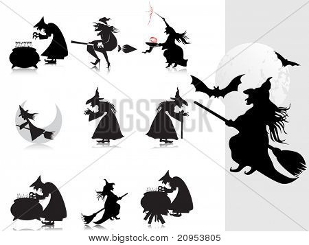 background with collection of witch silhouette