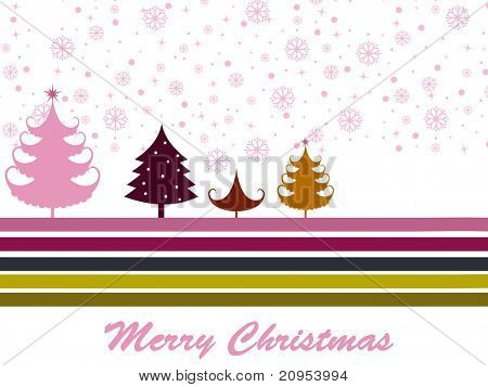 snowflake, colorful lines background with christmas tree
