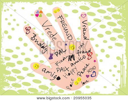 abstract grunge background with hand_2, vector illustration