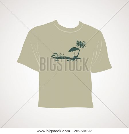 isolated summer tshirt with grey background