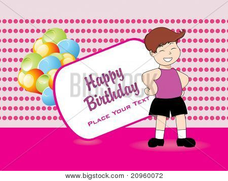 happy birthday banner with boy, colorful balloons