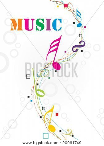 seamless circle background with colorful musical notes
