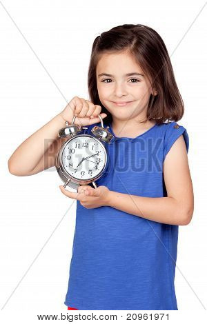 Brunette Little Girl With A Silvered Alarm-clock