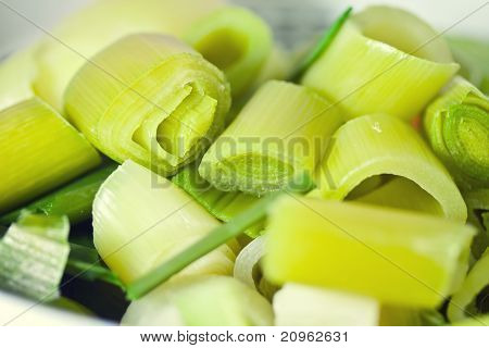 Leek Organic Vegetable Food Sliced And Uncooked