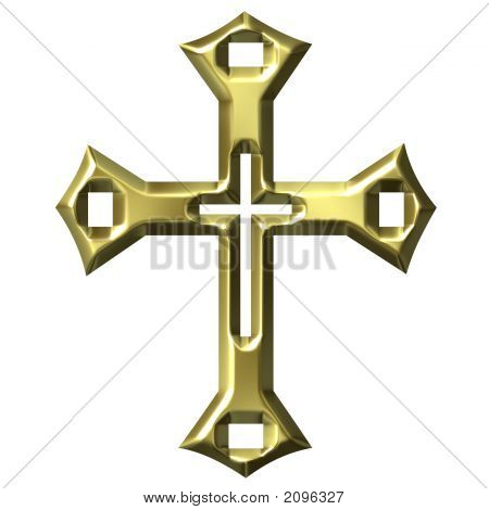 3D Golden Artisic Cross