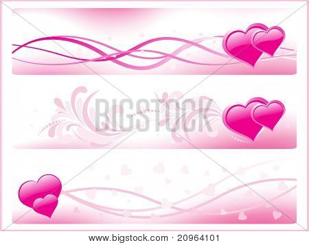 background with set of three pink romantic banner