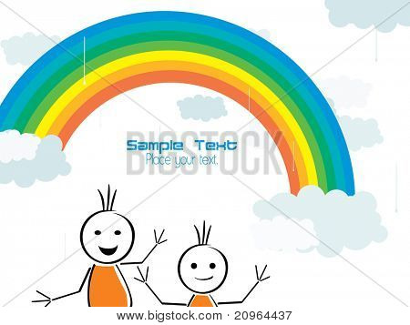 beautiful rainbow background with dancing cartoon