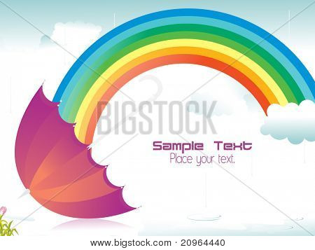 rain falling background with rainbow and isolated umbrella