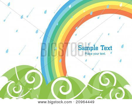 rain falling background with rainbow and collection of green open umbrellas