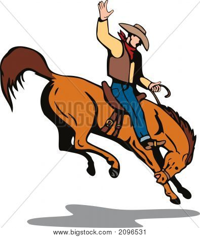 Rodeo Cowboy Riding A Bucking Bronco