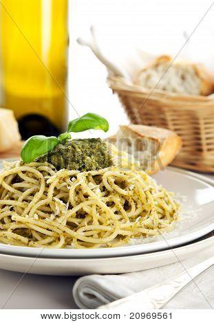 Spaghetti Alla Genovese Dish On Table Close Up