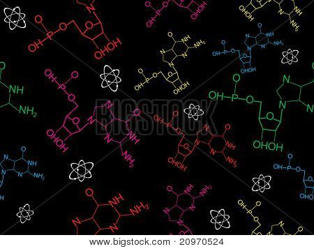 abstract black background with chemical formula, atom structure
