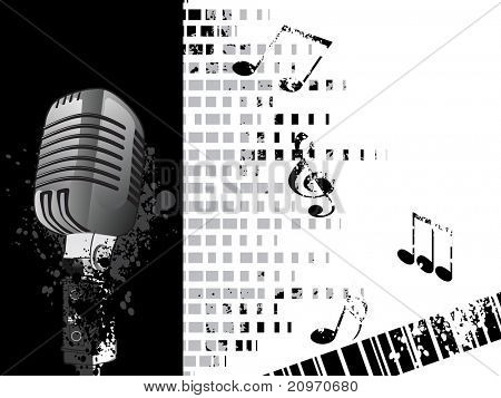 abstract texture background with musical notes, mike