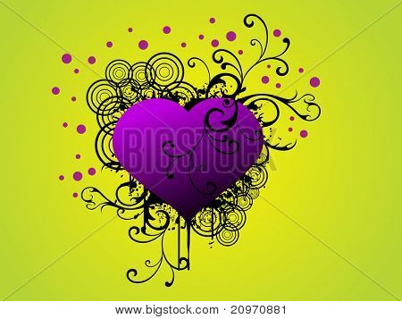 abstract yellow green rays background with grungy creative floral design with purple heart