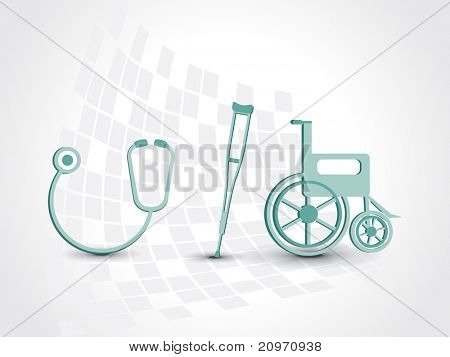 abstract medical background with armchair, wheelchair and stethoscope