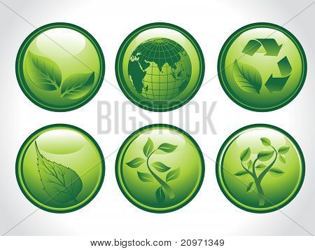 background with set of six go green concept icons, illustration