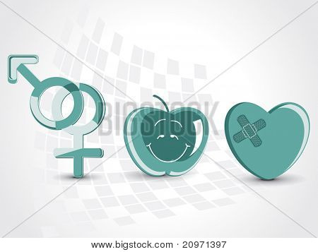medical background with apple, damage heart and male female symbol