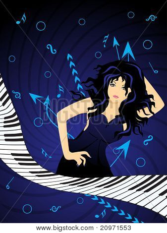 abstract blue circle, arrow background with sexy dancer, curve piano