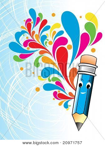 abstract colorful artwork with cute blue pencil