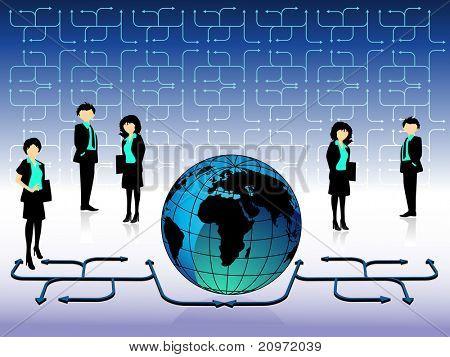 Resumen fondo de negocios con empresarios y globo, Ilustración