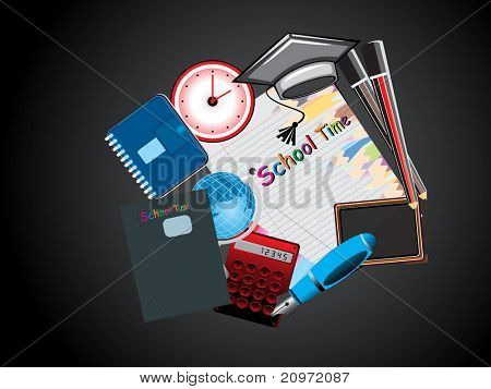 abstract black background with collection of education supplies
