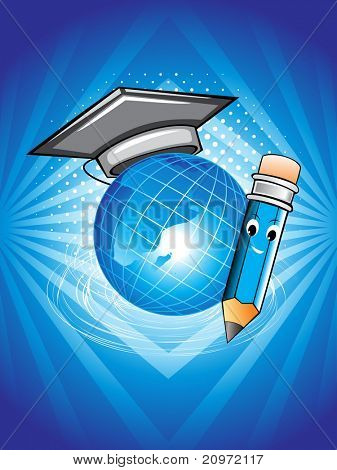 abstract background with globe, graduation cap and pencil