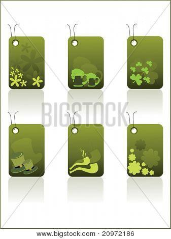white background with set of six happy st. patrick's day tag, illustration