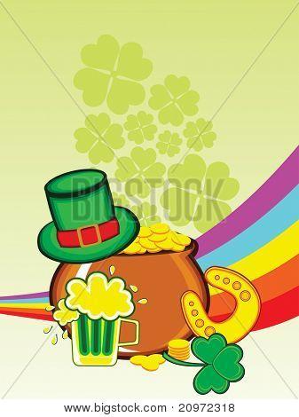 abstract shamrock, rainbow background with earthenware, leprechaun hat, beer mug and horseshoe